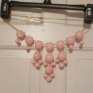 Pink and gold bubble statement necklace. Adj.
